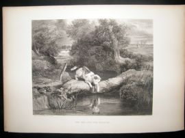 After Landseer 1860 Antique Dog Print. The Dog and the Shadow